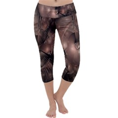 A Fractal Image In Shades Of Brown Capri Yoga Leggings by Nexatart