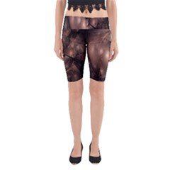 A Fractal Image In Shades Of Brown Yoga Cropped Leggings