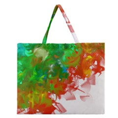 Digitally Painted Messy Paint Background Textur Zipper Large Tote Bag by Nexatart