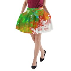 Digitally Painted Messy Paint Background Textur A Line Pocket Skirt