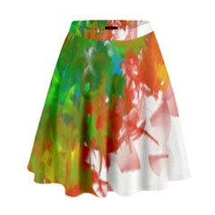 Digitally Painted Messy Paint Background Textur High Waist Skirt by Nexatart