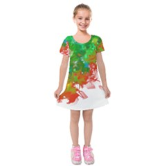 Digitally Painted Messy Paint Background Textur Kids  Short Sleeve Velvet Dress