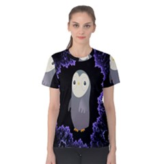 Fractal Image With Penguin Drawing Women s Cotton Tee