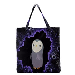 Fractal Image With Penguin Drawing Grocery Tote Bag by Nexatart