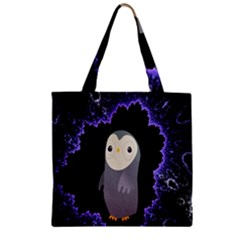 Fractal Image With Penguin Drawing Zipper Grocery Tote Bag by Nexatart