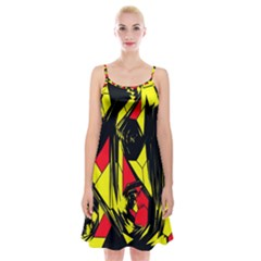 Easy Colors Abstract Pattern Spaghetti Strap Velvet Dress