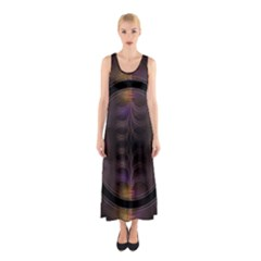 Wallpaper With Fractal Black Ring Sleeveless Maxi Dress
