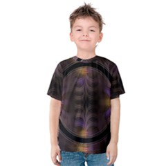 Wallpaper With Fractal Black Ring Kids  Cotton Tee