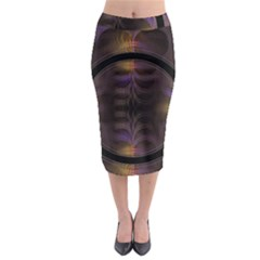 Wallpaper With Fractal Black Ring Midi Pencil Skirt by Nexatart