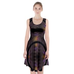Wallpaper With Fractal Black Ring Racerback Midi Dress