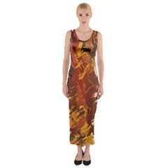 Abstraction Abstract Pattern Fitted Maxi Dress