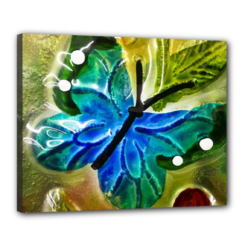 Blue Spotted Butterfly Art In Glass With White Spots Canvas 20  X 16  by Nexatart