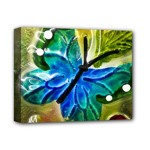 Blue Spotted Butterfly Art In Glass With White Spots Deluxe Canvas 14  x 11
