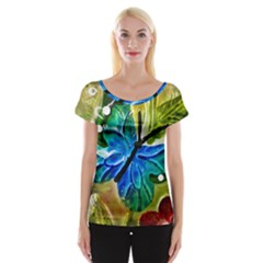Blue Spotted Butterfly Art In Glass With White Spots Women s Cap Sleeve Top