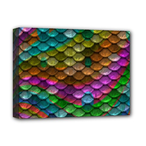 Fish Scales Pattern Background In Rainbow Colors Wallpaper Deluxe Canvas 16  X 12