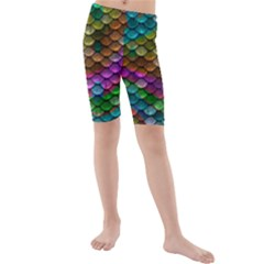 Fish Scales Pattern Background In Rainbow Colors Wallpaper Kids  Mid Length Swim Shorts by Nexatart