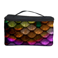 Fish Scales Pattern Background In Rainbow Colors Wallpaper Cosmetic Storage Case by Nexatart