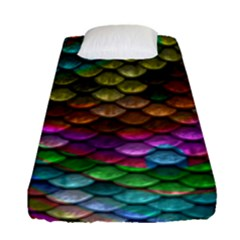 Fish Scales Pattern Background In Rainbow Colors Wallpaper Fitted Sheet (single Size)
