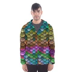 Fish Scales Pattern Background In Rainbow Colors Wallpaper Hooded Wind Breaker (men)