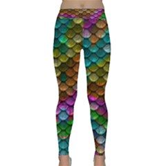 Fish Scales Pattern Background In Rainbow Colors Wallpaper Classic Yoga Leggings