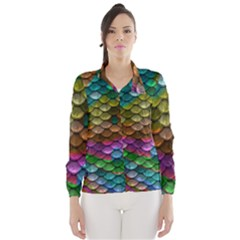 Fish Scales Pattern Background In Rainbow Colors Wallpaper Wind Breaker (women)