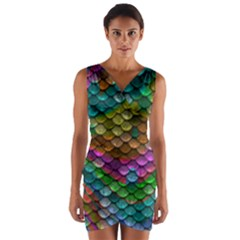 Fish Scales Pattern Background In Rainbow Colors Wallpaper Wrap Front Bodycon Dress