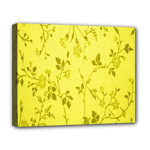 Flowery Yellow Fabric Deluxe Canvas 20  X 16
