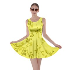 Flowery Yellow Fabric Skater Dress