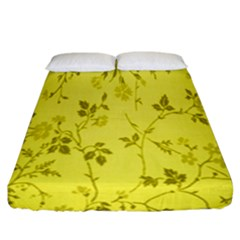 Flowery Yellow Fabric Fitted Sheet (california King Size)