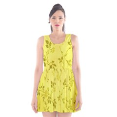 Flowery Yellow Fabric Scoop Neck Skater Dress