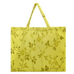 Flowery Yellow Fabric Zipper Large Tote Bag by Nexatart