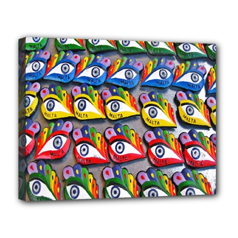 The Eye Of Osiris As Seen On Mediterranean Fishing Boats For Good Luck Canvas 14  X 11