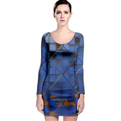 Glass Abstract Art Pattern Long Sleeve Bodycon Dress