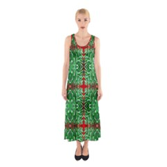 Geometric Seamless Pattern Digital Computer Graphic Sleeveless Maxi Dress