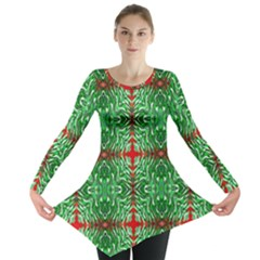 Geometric Seamless Pattern Digital Computer Graphic Long Sleeve Tunic