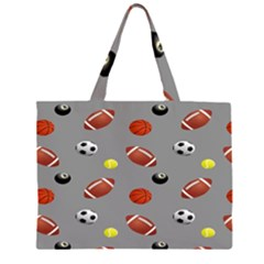 Balltiled Grey Ball Tennis Football Basketball Billiards Zipper Large Tote Bag by Mariart