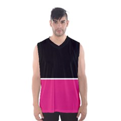 Black Pink Line White Men s Basketball Tank Top by Mariart