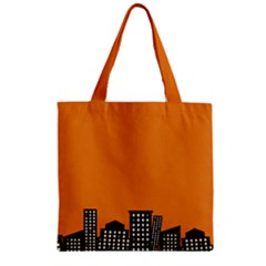 City Building Orange Zipper Grocery Tote Bag by Mariart
