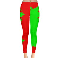Critical Points Line Circle Red Green Leggings  by Mariart