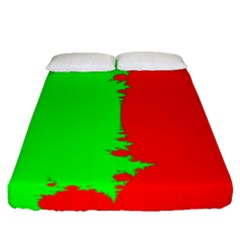 Critical Points Line Circle Red Green Fitted Sheet (queen Size) by Mariart