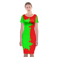 Critical Points Line Circle Red Green Classic Short Sleeve Midi Dress