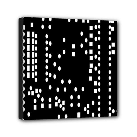 Circle Plaid Black White Mini Canvas 6  X 6  by Mariart