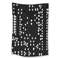 Circle Plaid Black White Large Tapestry by Mariart