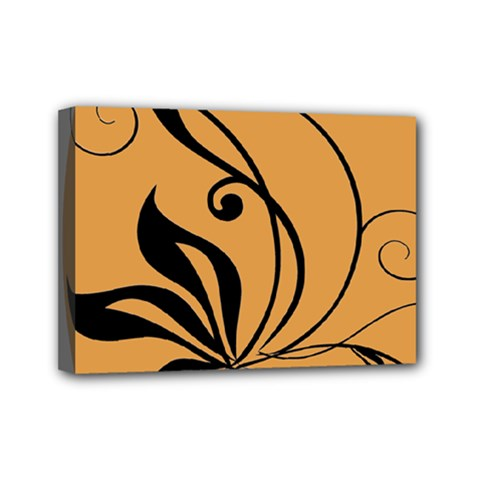 Black Brown Floral Symbol Mini Canvas 7  x 5  by Mariart