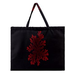 Dendron Diffusion Aggregation Flower Floral Leaf Red Black Zipper Large Tote Bag by Mariart