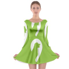 Dog Green White Animals Long Sleeve Skater Dress by Mariart