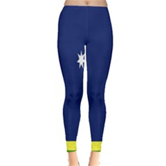 Flag Star Blue Green Yellow Leggings  by Mariart