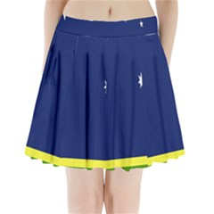 Flag Star Blue Green Yellow Pleated Mini Skirt by Mariart