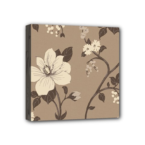 Floral Flower Rose Leaf Grey Mini Canvas 4  X 4  by Mariart