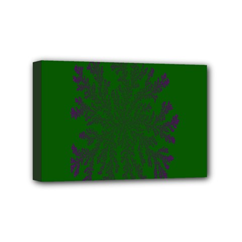 Dendron Diffusion Aggregation Flower Floral Leaf Green Purple Mini Canvas 6  X 4  by Mariart